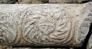 Medusa carved in stone at the Chorazin synagogue. Todd Bolen/bibleplaces.com